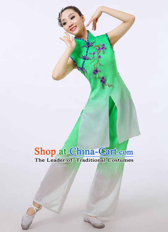 Traditional Chinese Folk Dance Costume Yangge Dance Green Uniform, Chinese Classical Fan Dance Umbrella Dance Yangko Embroidery Cheongsam Clothing for Women