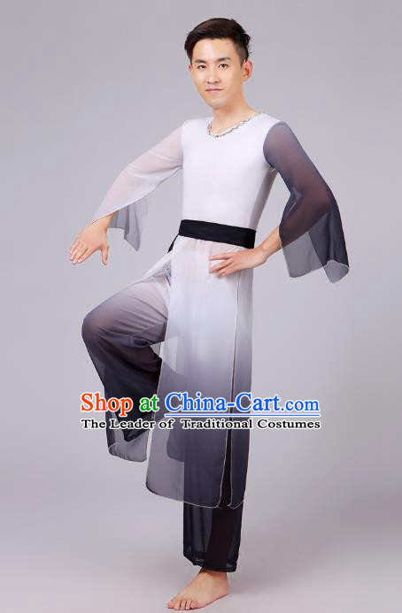 Traditional Chinese Classical Dance Yangge Fan Dance Costume, Folk Dance Drum Dance Uniform Yangko Black Clothing Complete Set for Men