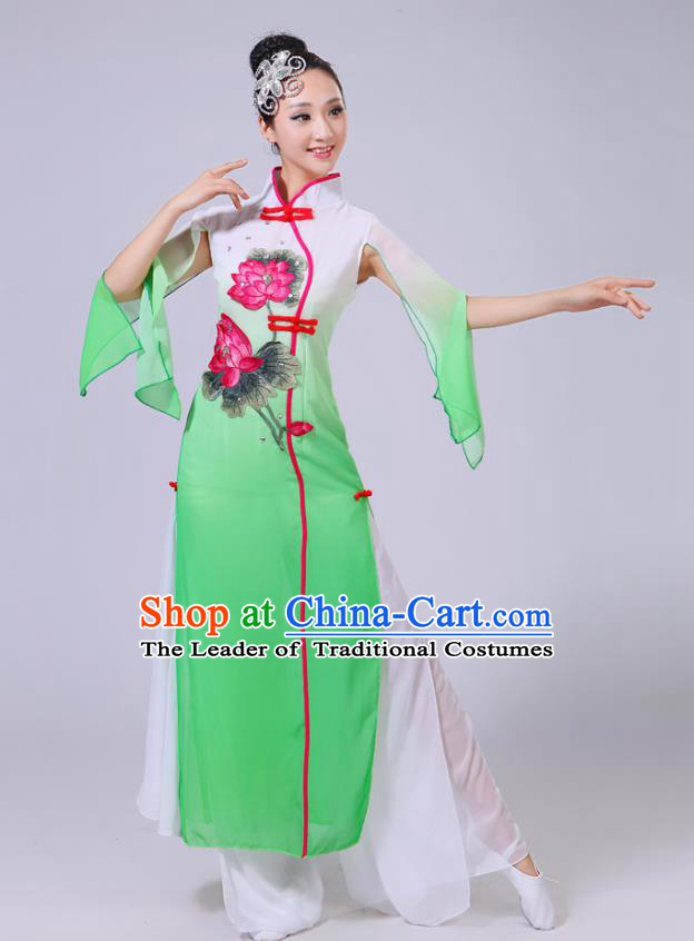 Traditional Chinese Folk Dance Costume Yangge Dance Printing Lotus Green Uniform, Chinese Classical Fan Dance Umbrella Dance Yangko Clothing for Women