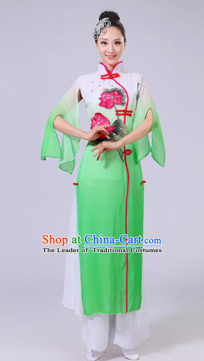 Traditional Chinese Classical Dance Yangge Fan Dance Costume, Chinese Classical Umbrella Dance Green Uniform Yangko Clothing for Women