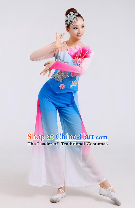 Traditional Chinese Folk Dance Costume Yangge Dance Blue Jasmine Flower Uniform, Chinese Classical Fan Dance Drum Dance Yangko Clothing for Women
