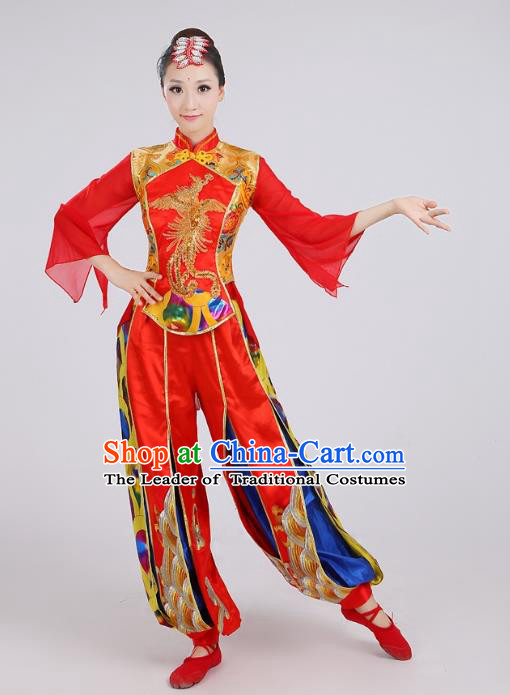 Traditional Chinese Folk Dance Costume Yangge Dance Red Uniform, Chinese Classical Fan Dance Waist Drum Dance Yangko Clothing for Women