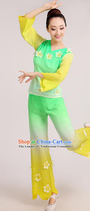 Traditional Chinese Folk Dance Costume Yangge Dance Green Uniform, Chinese Classical Fan Dance Waist Drum Dance Yangko Clothing for Women