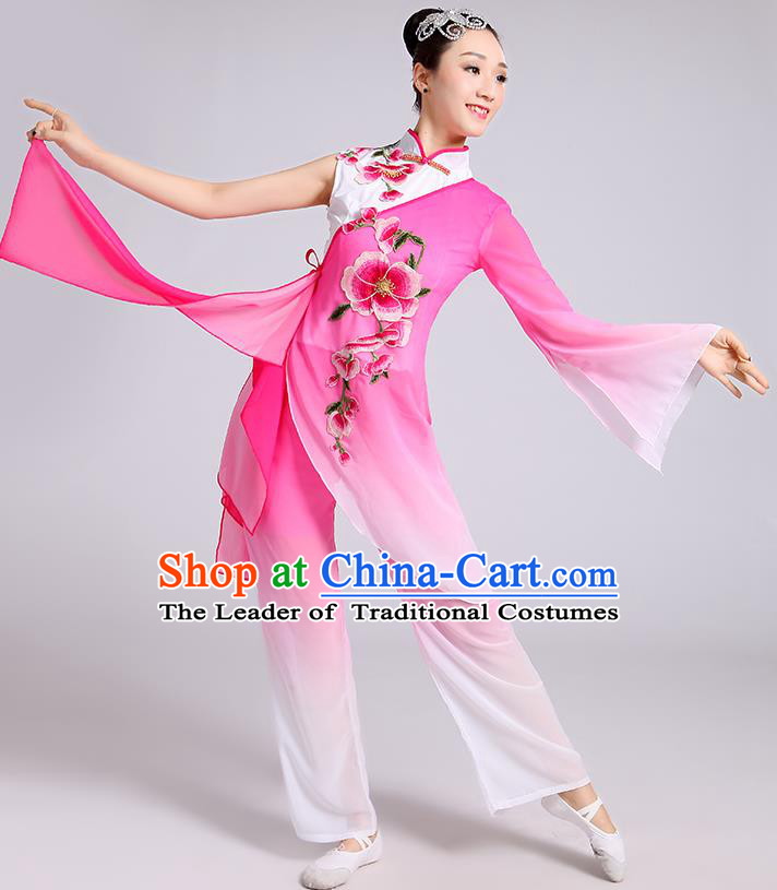 Traditional Chinese Classical Dance Yangge Fan Dance Costume, Chinese Classical Umbrella Dance Pink Uniform Yangko Embroidery Clothing for Women