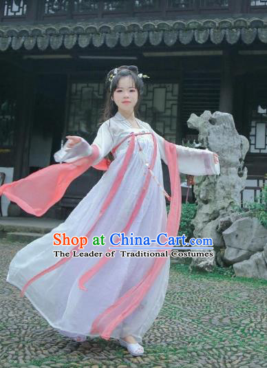 Traditional Chinese Tang Dynasty Imperial Concubine Costume White Fairy Dress, Elegant Hanfu Clothing Chinese Ancient Princess Clothing for Women