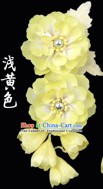 Traditional Beijing Opera Diva Hair Accessories Yellow Silk Flowers Hairpins, Ancient Chinese Peking Opera Hua Tan Hair Stick Headwear