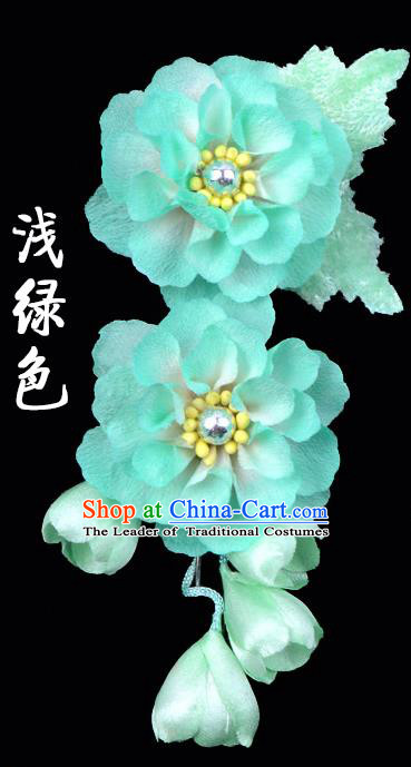 Traditional Beijing Opera Diva Hair Accessories Light Green Silk Flowers Hairpins, Ancient Chinese Peking Opera Hua Tan Hair Stick Headwear