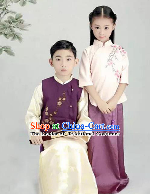 Traditional Chinese Nobility Childe and Lady Costume, Elegant Hanfu Clothing Chinese Ancient Republic of China Embroidery Robe Clothing fir Kids
