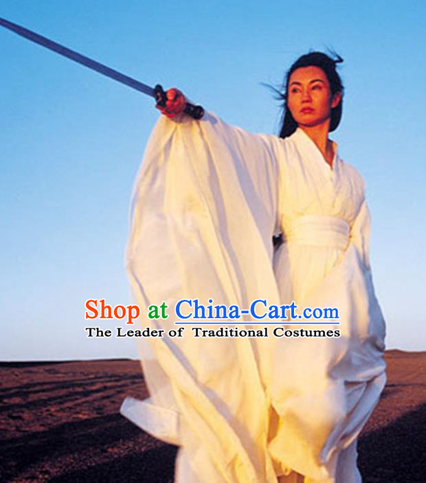 Traditional Chinese Ancient Female Swordsman Costume, Chinese Qin Dynasty Kawaler Hanfu White Dress Clothing for Women