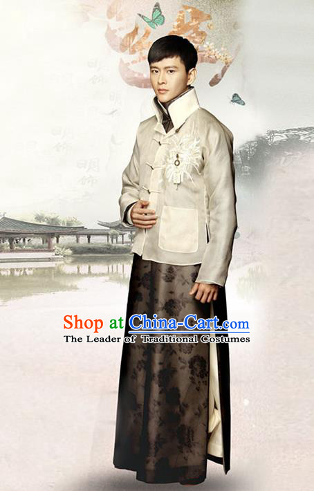 Traditional Chinese Nobility Childe Costume Beige Mandarin Jacket and Long Robe, Chinese Republic of China Young Master Embroidery Clothing for Men