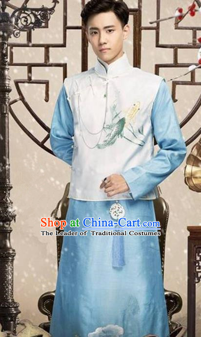 Traditional Chinese Nobility Childe Costume Mandarin Jacket and Blue Long Robe, Chinese Republic of China Young Master Embroidery Clothing for Men