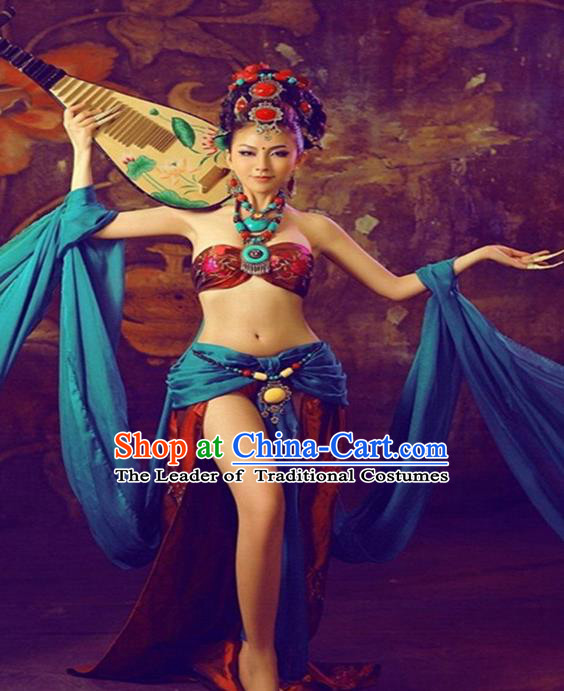 Traditional Ancient Chinese Dunhuang Flying Apsaras Dance Costume, Elegant Hanfu Clothing Chinese Palace Lady Fairy Clothing for Women