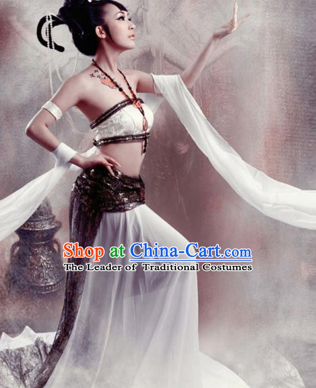 Traditional Ancient Chinese Dunhuang Flying Apsaras Dance White Costume, Elegant Hanfu Clothing Chinese Palace Lady Fairy Clothing for Women