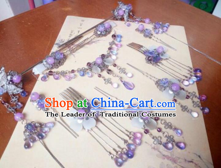 Traditional Chinese Ancient Classical Handmade Hair Accessories Complete Set Princess Purple Grass Tassel Hair Comb, Hanfu Step Shake Hair Fascinators Hairpins for Women