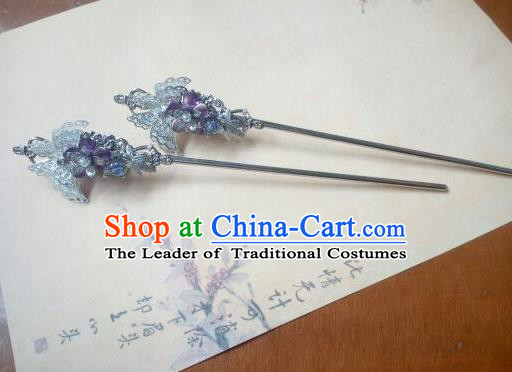 Traditional Chinese Ancient Classical Handmade Hair Accessories Butterfly Hair Comb, Hanfu Hair Stick Hair Fascinators Hairpins for Women