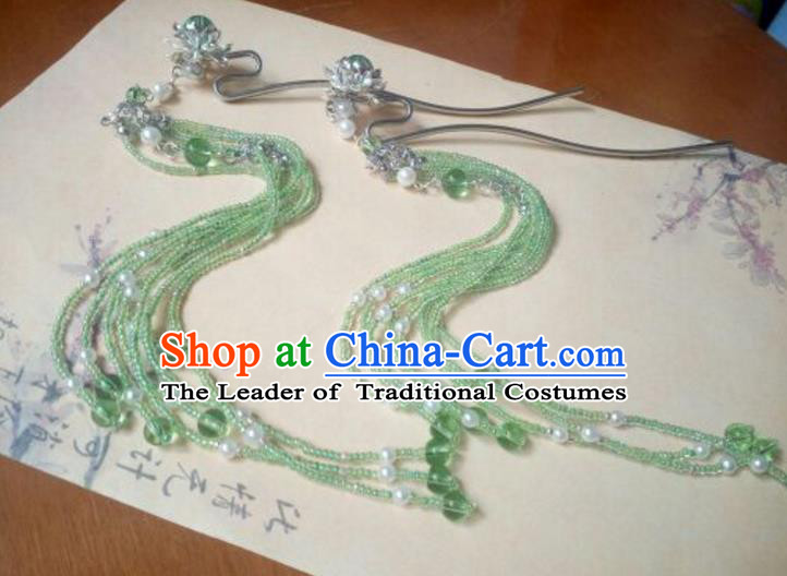 Traditional Chinese Ancient Classical Handmade Hair Accessories Green Beads Tassel Hairpin, Hanfu Hair Stick Hair Fascinators Hairpins for Women