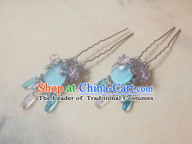 Traditional Chinese Ancient Classical Handmade Hair Accessories Blue Hairpin, Hanfu Hair Stick Hair Fascinators Hairpins for Women