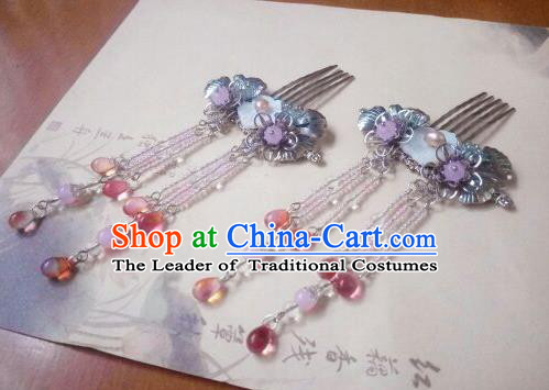 Traditional Chinese Ancient Classical Handmade Hair Accessories Palace Lady Tassel Hair Comb, Hanfu Hair Stick Hair Fascinators Hairpins for Women