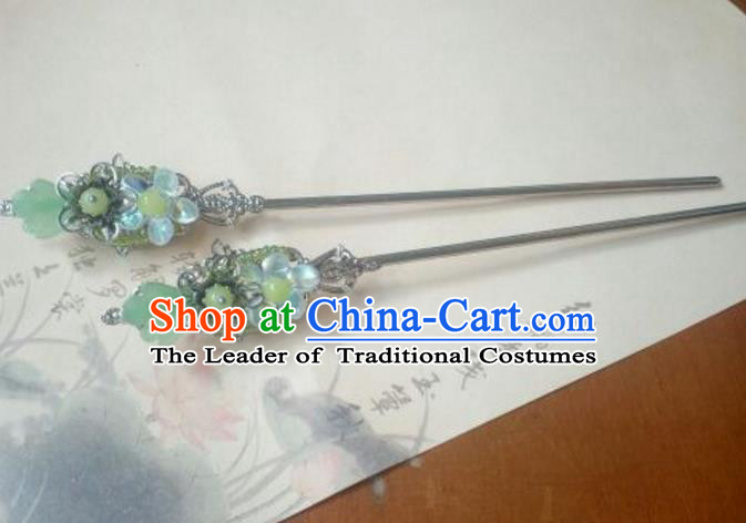 Traditional Chinese Ancient Classical Handmade Hair Accessories Palace Lady Green Hairpin, Hanfu Hair Stick Hair Fascinators Hairpins for Women