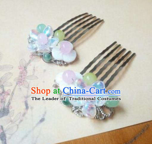 Traditional Chinese Ancient Classical Handmade Hair Accessories Palace Lady Hair Comb, Hanfu Hair Stick Hair Fascinators Hairpins for Women