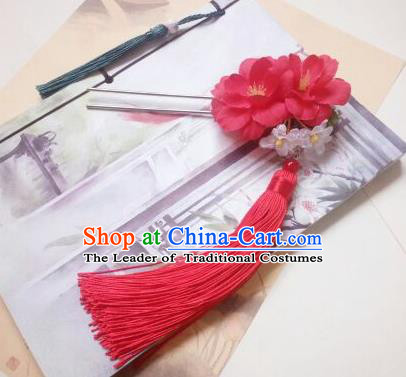 Traditional Chinese Ancient Classical Handmade Hair Accessories Palace Lady Red Flower Tassel Hairpin, Hanfu Hair Stick Hair Fascinators Hairpins for Women