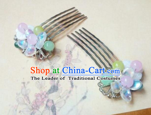 Traditional Chinese Ancient Classical Handmade Hair Accessories Barrettes Hairpin, Hanfu Blue Beads Tassel Step Shake Hair Fascinators Hairpins for Women
