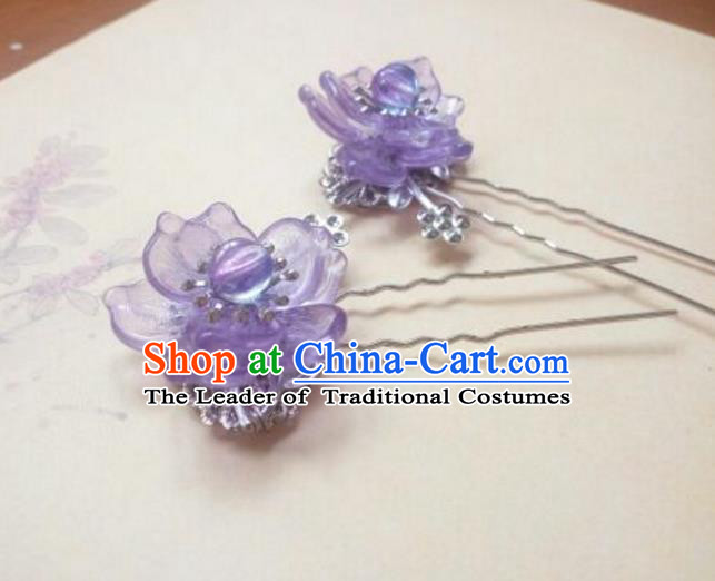 Traditional Chinese Ancient Classical Handmade Hair Accessories Palace Lady Purple Flower Hairpin, Hanfu Hair Stick Hair Fascinators Hairpins for Women
