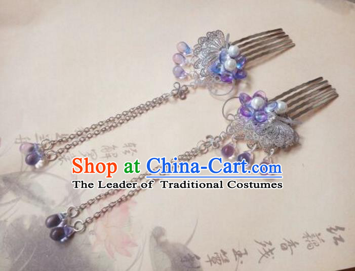 Traditional Chinese Ancient Classical Handmade Hair Accessories Palace Lady Tassel Butterfly Step Shake, Hanfu Hair Stick Hair Fascinators Hairpins for Women