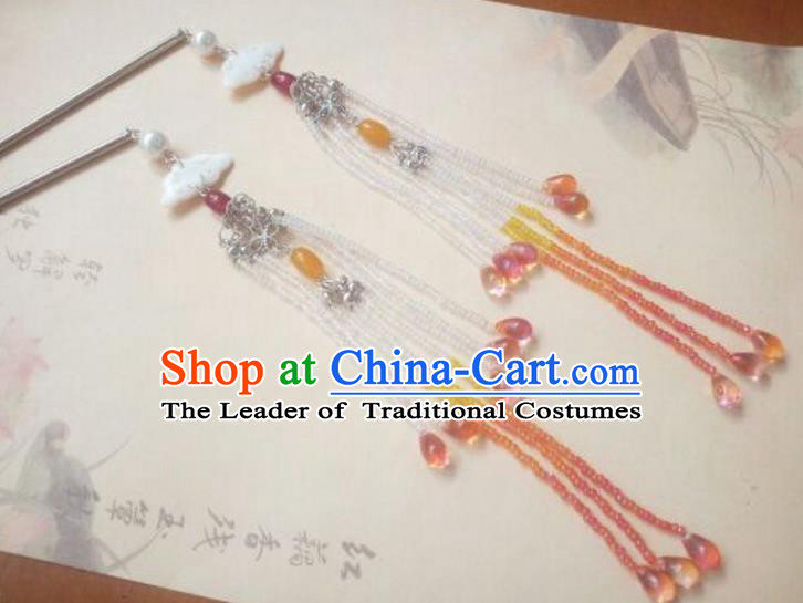 Traditional Chinese Ancient Classical Handmade Hair Accessories Palace Lady Tassel Shell Step Shake, Hanfu Hair Stick Hair Fascinators Hairpins for Women