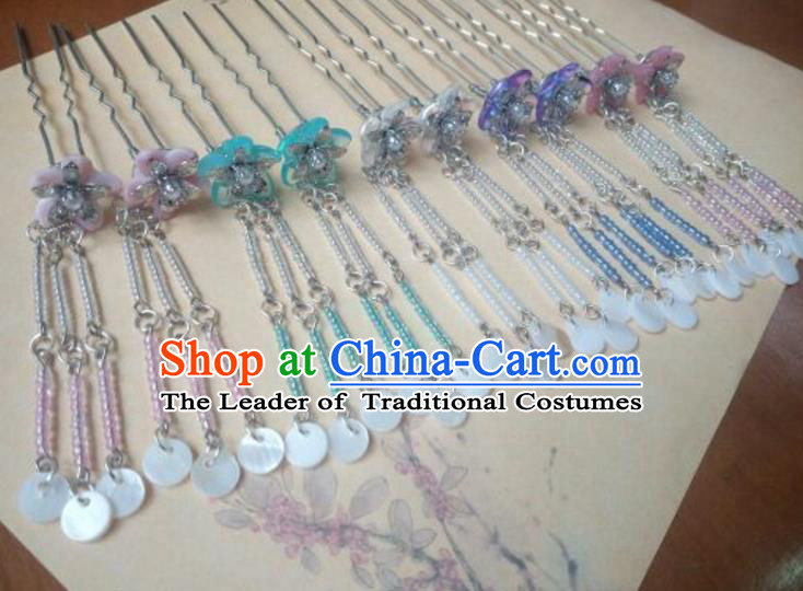 Traditional Chinese Ancient Classical Handmade Hair Accessories Barrettes Tassel Hairpin, Hanfu Step Shake Hair Fascinators Hairpins for Women