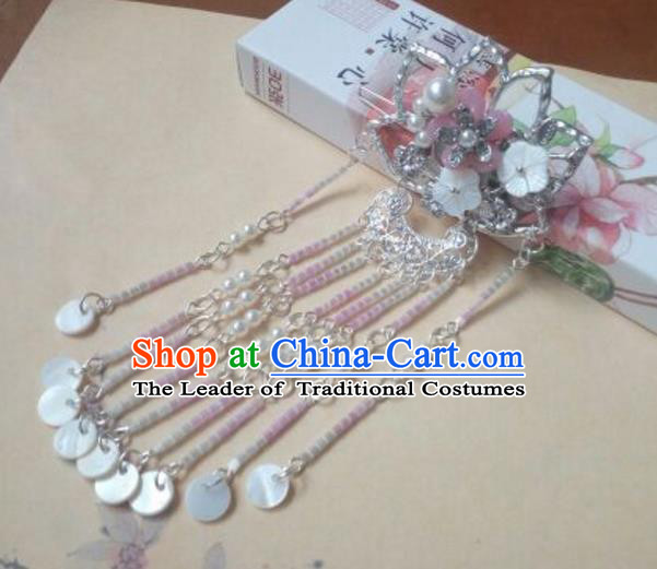 Traditional Chinese Ancient Classical Handmade Palace Lady Lotus Hairpin Hair Accessories, Hanfu Tassel Hair Comb Hair Fascinators Hairpins for Women