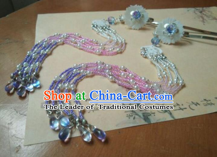 Traditional Chinese Ancient Classical Handmade Hair Accessories Barrettes Princess Tassel Hairpin, Hanfu Step Shake Hair Fascinators Hairpins for Women