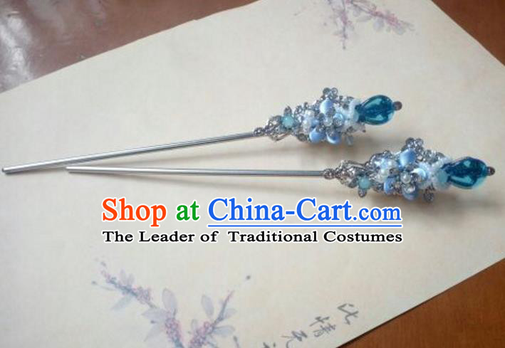 Traditional Chinese Ancient Classical Handmade Hair Accessories Barrettes Princess Blue Grass Hairpin, Hanfu Step Shake Hair Fascinators Hairpins for Women