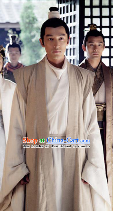 Traditional Chinese Ancient Scholar Costume, Chinese Han Dynasty Military Counsellor Hanfu Clothing for Men