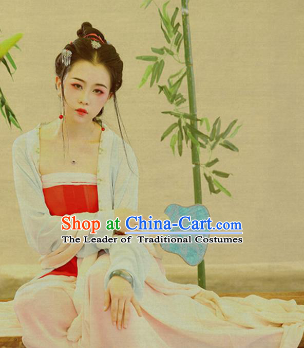 Traditional Ancient Chinese Young Lady Costume, Elegant Hanfu Clothing Chinese Tang Dynasty Imperial Concubine Clothing for Women