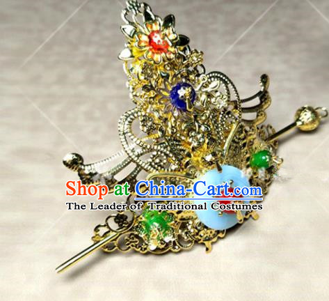 Traditional Ancient Chinese Prince Hair Accessories Tuinga, Chinese Han Dynasty Swordsman Hairpins Headwear for Men