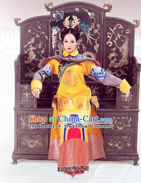 Traditional Ancient Chinese Imperial Consort Costume, Chinese Qing Dynasty Manchu Imperial Concubine Embroidered Clothing for Women