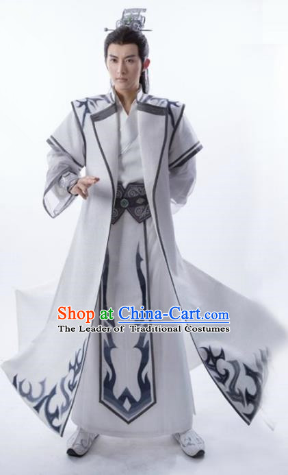 Traditional Chinese Ancient Swordsman Costume, Chinese Han Dynasty Nobility Childe Hanfu Prince Clothing for Men
