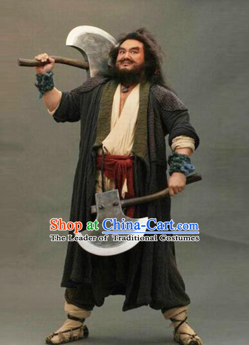 Traditional Chinese Ancient Water Margin Swordsman Costume, Chinese Song Dynasty Bandit Hero Li Kui Clothing for Men