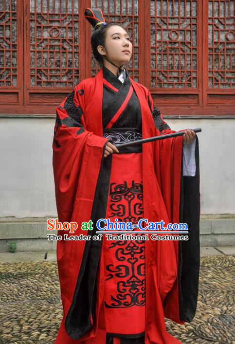 Traditional Ancient Chinese Imperial Emperor Wedding Costume Red Robe, Elegant Hanfu Clothing Chinese Han Dynasty Bridegroom Embroidered Clothing for Men
