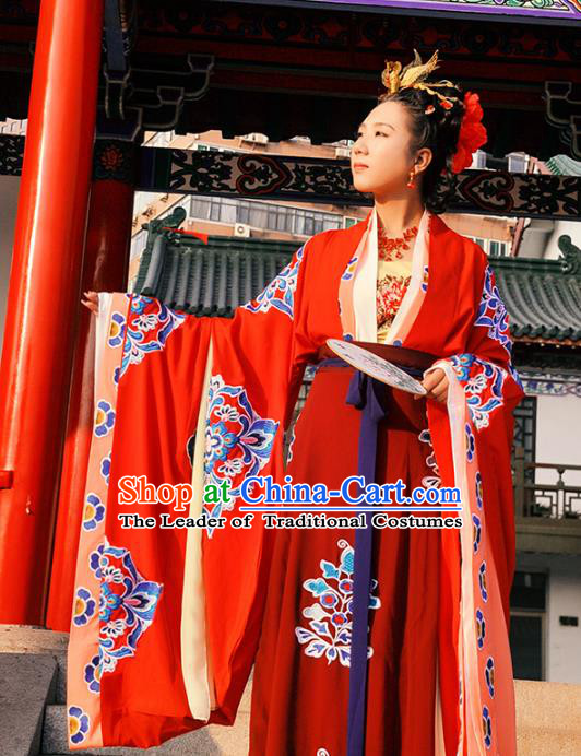 Traditional Chinese Tang Dynasty Imperial Empress Wedding Costume Complete Set, Elegant Hanfu Chinese Imperial Concubine Embroidered Clothing
