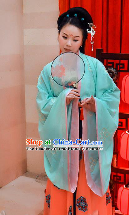 Traditional Chinese Tang Dynasty Young Lady Costume, Elegant Hanfu Chinese Imperial Princess Embroidered Clothing
