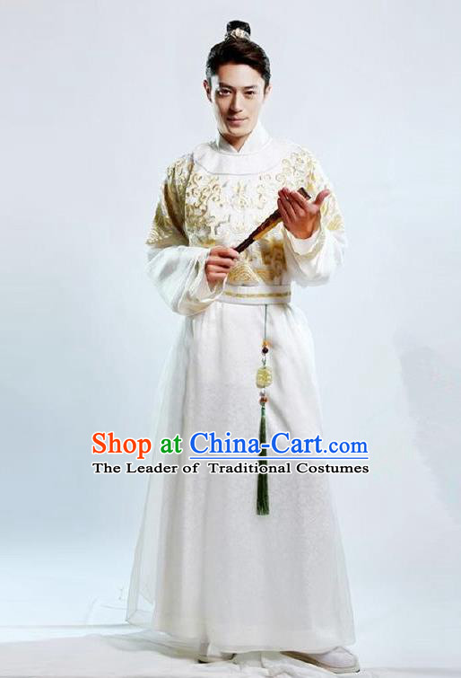 Traditional Chinese Ming Dynasty Nobility Childe Costume Long Robe, Chinese Ancient Prince Embroidery Clothing for Men