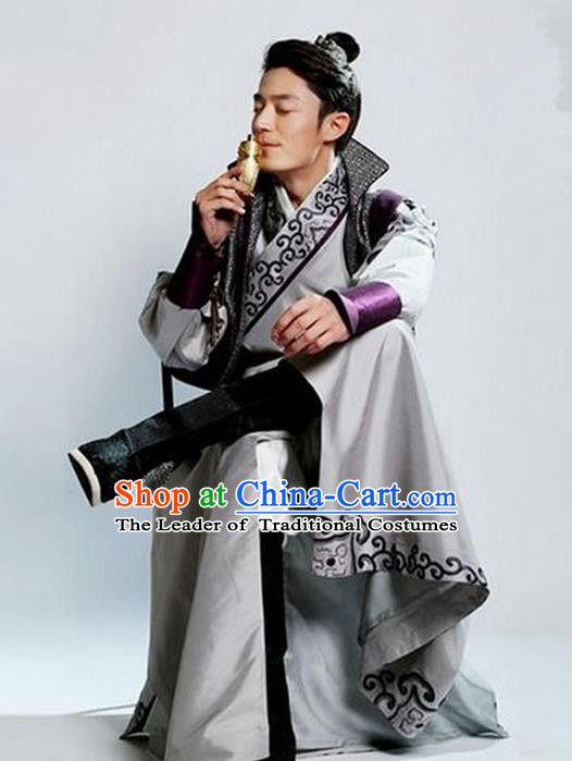 Traditional Chinese Ming Dynasty Nobility Childe Costume Swordsman Grey Long Robe, Chinese Ancient Prince Embroidery Clothing for Men