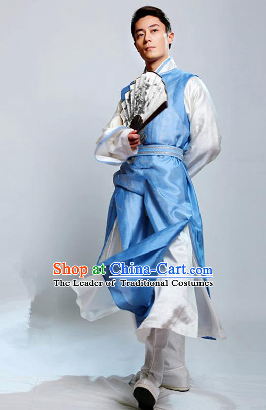 Traditional Chinese Ming Dynasty Nobility Childe Costume Swordsman Blue Long Robe, Chinese Ancient Prince Embroidery Clothing for Men