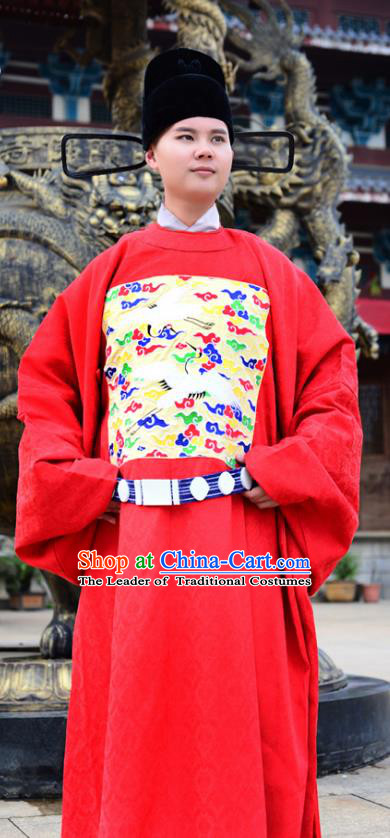 Traditional Chinese Ming Dynasty Lang Scholar Costume Wedding Red Robe, Elegant Hanfu Chinese Bridegroom Embroidered Clothing for Men