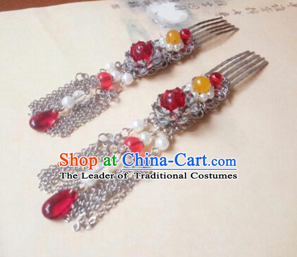 Traditional Chinese Ancient Classical Handmade Palace Princess Red Bead Hair Comb Hair Accessories, Hanfu Hair Stick Hair Fascinators Hairpins for Women