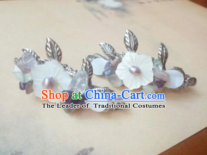 Traditional Chinese Ancient Classical Handmade Palace Princess Shell Flower Hair Claw Hair Accessories, Hanfu Hair Stick Hair Fascinators Hairpins for Women