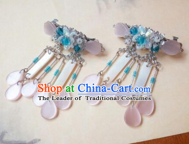 Traditional Handmade Chinese Ancient Classical Palace Lady Pink Tassel Hair Accessories, Hair Claw Hair Jewellery, Hair Fascinators Plum Blossom Hairpins for Women