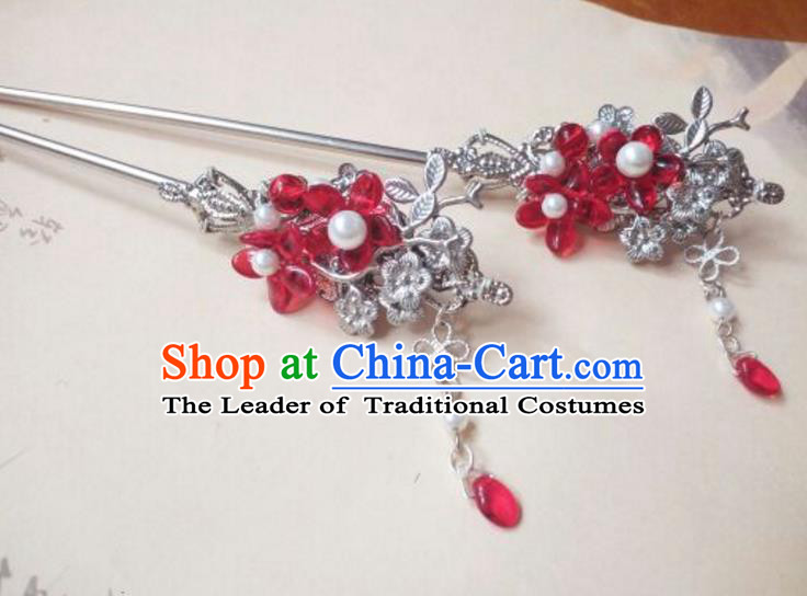 Traditional Handmade Chinese Ancient Classical Palace Lady Red Flower Tassel Hair Accessories Hair Jewellery, Hair Fascinators Hairpins for Women